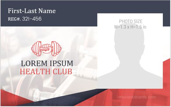 Health Club ID Card Sample
