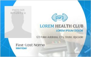 Health Club ID Badge Sample