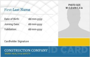 Construction worker photo id badge template