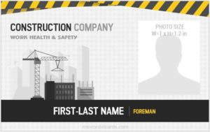 Construction company id badge template