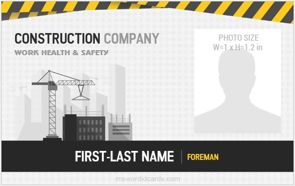 Construction worker id badges