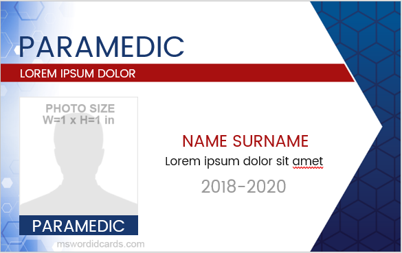 Paramedic staff id card