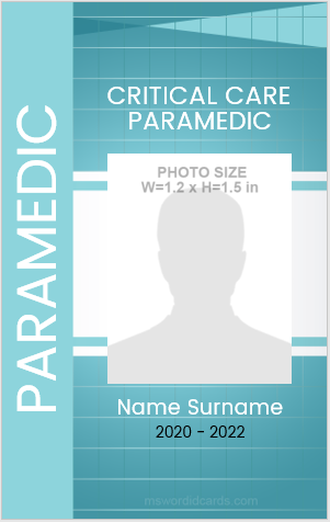 Vertical Design Paramedic ID Card