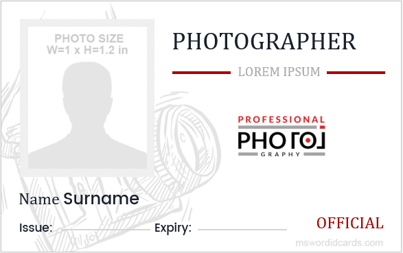 Photographer ID Card Template
