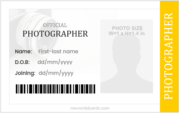 Photographer ID Card Design