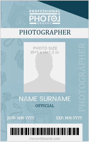 Photographer ID Card Sample Vertical Design