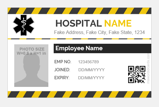 Hospital Staff Id Badge Templates Microsoft Word Id Card
