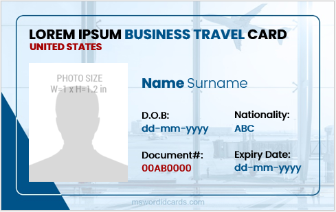 Business travel id card