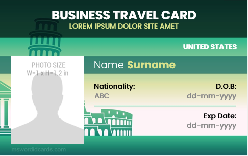 Business travel id badge