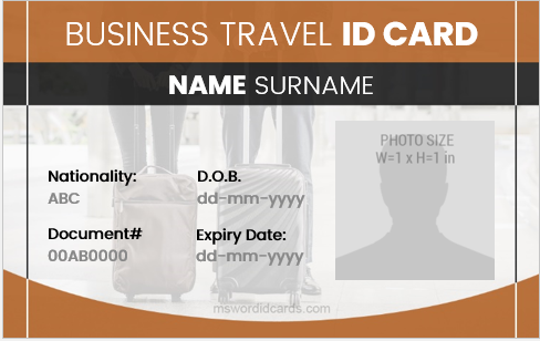 Business travel id card format