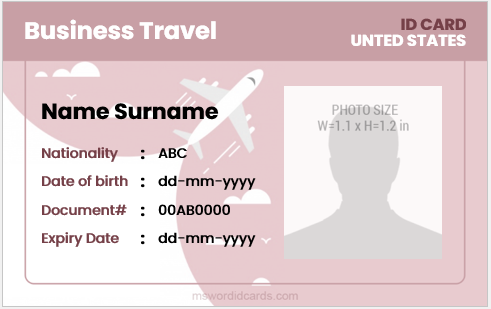Travel id card template