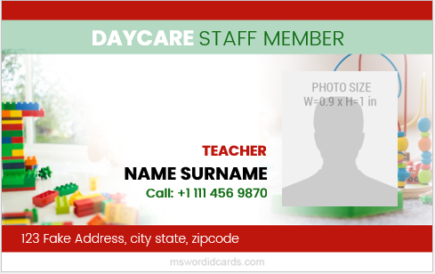 Daycare staff id badge