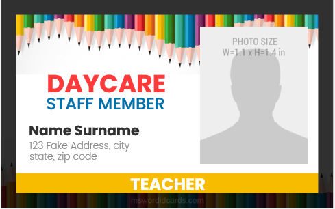 Daycare staff id card sample
