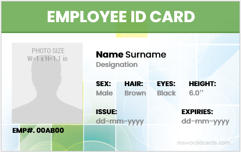 Company employee id card template