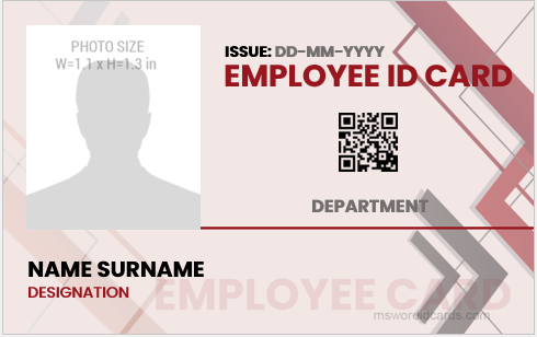 Company employee id card layout