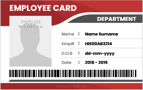 Company employee id badge sample MS Word