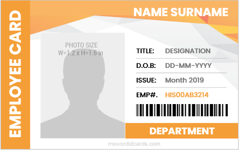 Editable company employee id badge sample