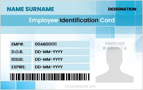 Printable company employee id badge sample