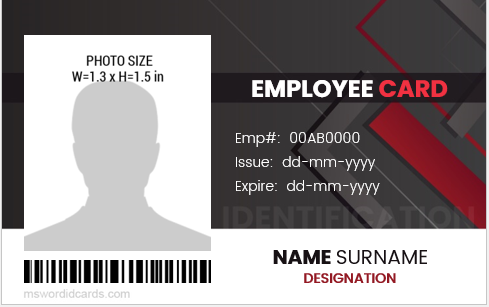 MS Word company employee id badge