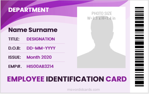 Employee id badge MS Word format