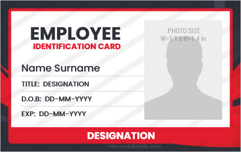 Formal id badge sample for company employees