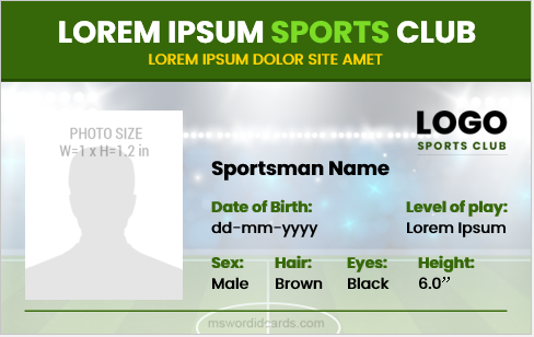 Sportsman id card template