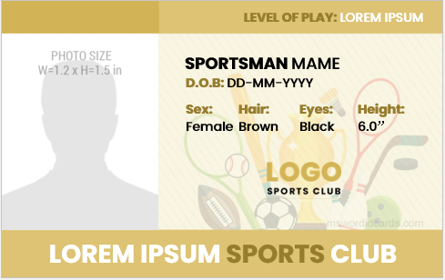 Sportsman id badge template