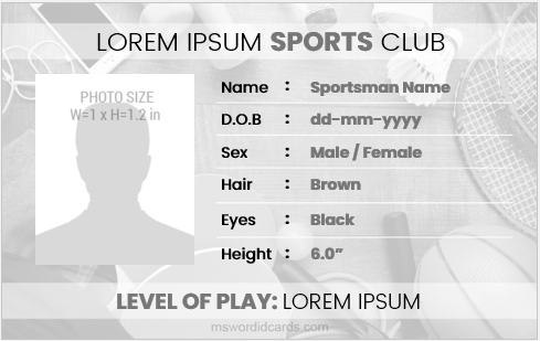 Printable sportsman id badge