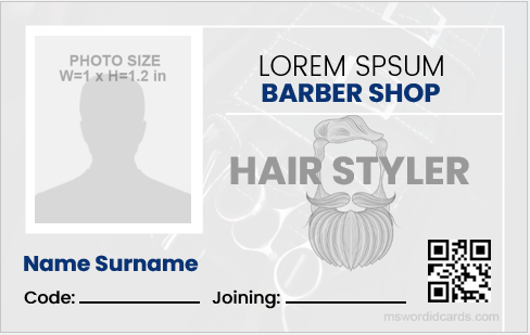 Barber id card template