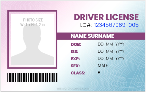 Driver license card template