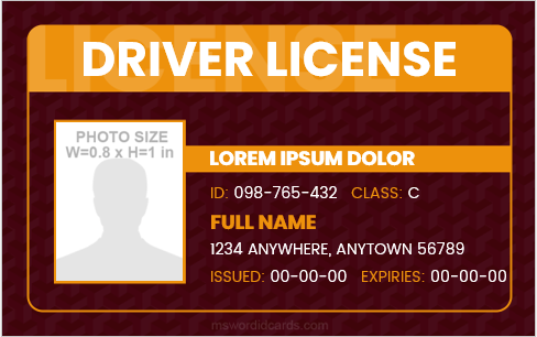 Driver license card format