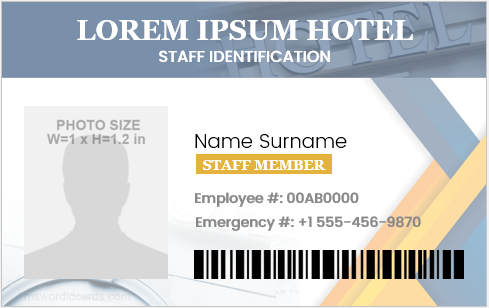 Hotel staff id card