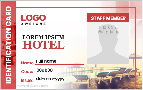 Hotel staff id card sample