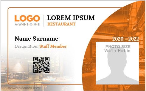 Restaurant staff id badge