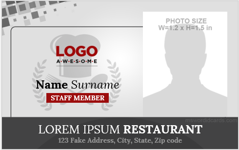 Restaurant staff id card sample