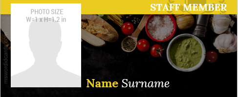 Restaurant staff id card format