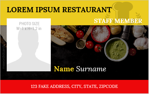 Restaurant staff id card