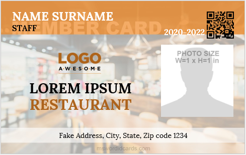 Sample restaurant staff id badge format