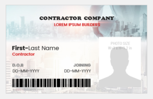 Contractor id badge
