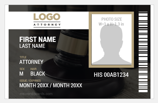 Attorney ID Badge Template