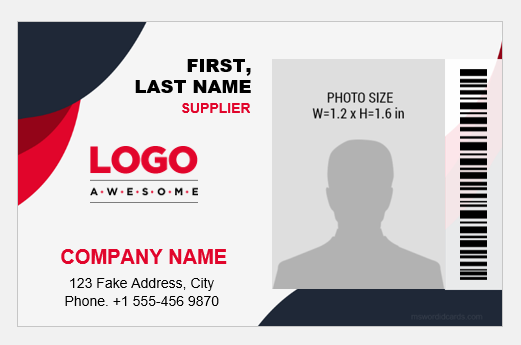Supplier ID card/badge template