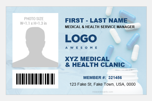 Medical and health service manager ID badge